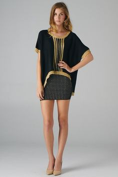 Gold Thread Middle Panel Stripes Sweater Top