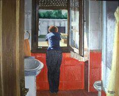 Mujer en la ventana del baño