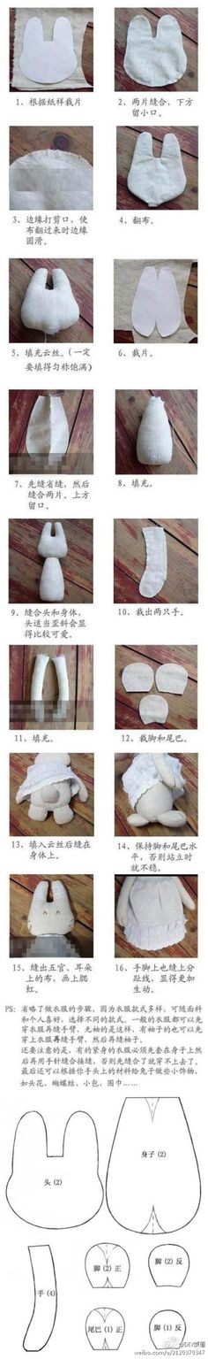 【手工兔教程】,不错不错哦!!!!, How to Make a   Toy Animal Plushie Tutorial Plushies Tutorial , Animal Plushies, Softies & Furries Arts and Crafts, Diy Projects, Sewing Template , animals, plush, soft, toy, pattern, template, sewing, diy , crafts, kawaii, cute, sew,bunny pattern, rabbit, critter