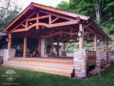 View the Huizenga custom timber frame pavilion. View this beautifully designed timber frame pavilion and many other timber frame designs online.