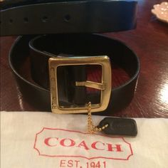 "Coach Belt Black Leather Coach Belt.  Measures approx.  39"".   Like new, never worn.  Fits M/L Coach Accessories Belts"