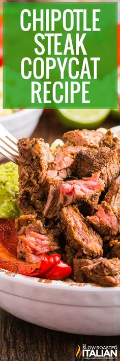 Chipotle steak can be made at home for a fraction of the cost, you'll have plenty of leftovers too! Try this easy recipe for dinner tonight. Chipotle Steak Recipes, Grilling Recipes, Beef Recipes, Mexican Food Recipes, Cooking Recipes, Beef Meals, Mexican Cooking, Mexican Dishes, Italian Recipes
