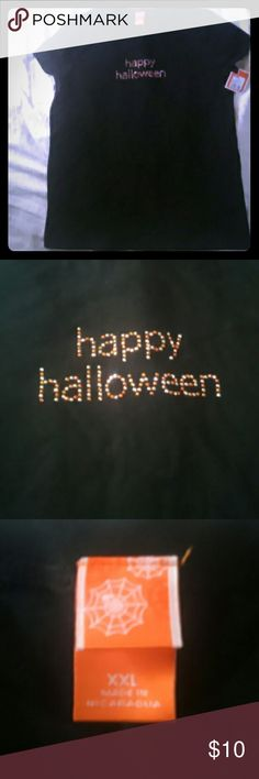 """🌼NEW!🌼 """"Happy Halloween"""" T-shirt XXL Brand New with tags. Black T-Shirt with silver and orange rhinestones that say """"Happy Halloween"""". Size says XXL but it's more like a Large/XL! 100% cotton. Tops Tees - Short Sleeve"""
