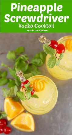 Pineapple Screwdriver cocktails are super simple to make! Easy to mix up by the glass or the pitcher with pineapple juice, orange juice and vodka. Great for get togethers with friends, game day gatherings or your next cocktail party. Alcoholic Drinks With Pineapple Juice, Orange Juice Cocktails, Orange Juice And Vodka, Pineapple Cocktail, Pineapple Lemonade, Mixed Drinks Alcohol, Fruity Cocktails, Frozen Cocktails, Alcohol Drink Recipes