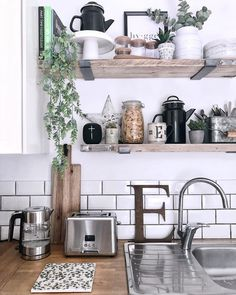 The must-have essential items and accessories you need to style kitchen scaffold board shelves in your home. Kitchen shelf styling tips for rustic, country cottage, vintage style interiors accessories cabinet 8 must-have items for styling kitchen shelves* Country Style Kitchen, Wooden Kitchen, Shelf Styling, Wooden Shelves Kitchen, Kitchen Cabinet Styles, Kitchen Inspiration Design, Kitchen Styling, Kitchen Shelves Styling, Minimalist Kitchen