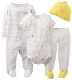 Carters Baby Girls 4 Piece Layette Set Baby  Yellow  Newborn >>> Continue to the product at the image link.