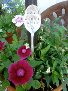Silver Plated Hand Stamped Garden Marker Spoon LOVES by bling33, $10.00