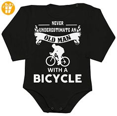 Never Underestimate An Old Man With A Bicycle Baby Romper Long Sleeve Bodysuit Medium - Baby bodys baby einteiler baby stampler (*Partner-Link)