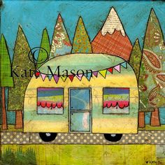 Snowy Mountain Vintage Caravan PRINT by MessyMissKate on Etsy