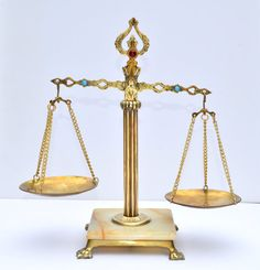 VINTAGE Antique Brass Balance Scale of Justice Italian Marble w Rhinestones. via Etsy.