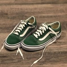 72f6f795add Shop Women s Vans Green White size 6 Sneakers at a discounted price at  Poshmark. Description  Brand new green low top old school vans!