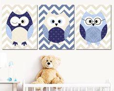 Personalized set of 3 Navy Blue Beige, Owl Print Stickers Canvas Wall Art Nursery Art Print Children Wall Art Baby Boy Nursery Art Decor
