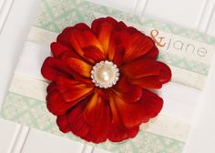 Red Bloom Flower with Pearl Rhinestone Center 6-12 Months