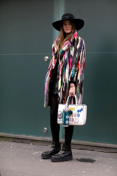 Must-See Street Style From Milan Fashion Week Fall 2015 - multicolor fur coat, wide brimmed hat + platform ankle boots