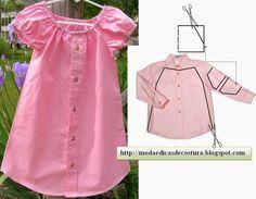 Reciclagem de camisa de homem transformada em vestido de criança. Esta é uma excelente ideia e fácil de concretizar. As partes mais expostas ao desgaste sã