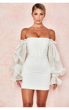 Long Sleeve Bandage Dress, White Bandage Dress, White Sheath Dress, Short Corset Dress, White Corset Dress, Sexy White Dress, Corset Dresses, Dress Long, New Party Dress