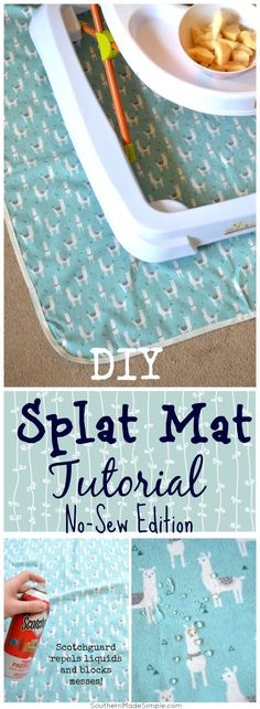 Keep toddler messes at bay with this simple DIY no-sew splat mat tutorial! #ProtectYourEverything #ad
