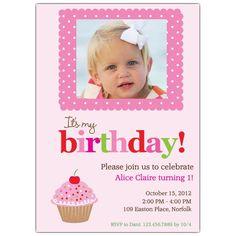 Cherry Cupcake Party Photo Birthday Invitations