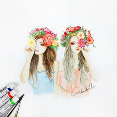 Flowers and girls best friend drawings, best friend sketches, friends ske. Best Friend Sketches, Friends Sketch, Best Friend Drawings, Girly Drawings, Easy Drawings, Creation Art, Friend Pictures, Oeuvre D'art, Drawing Sketches