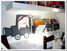 Train Decorations For Boys Room Design, Pictures, Remodel, Decor and Ideas - page 3 Don't like the engine, but like the concept. Boys Room Design, Boys Room Decor, Boy Room, Big Boy Bedrooms, Kids Bedroom, Train Bedroom, Modern Shelving, Toddler Rooms, Bedroom Themes