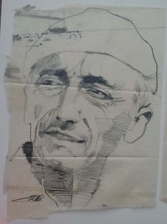 Bernie Fuchs - Jacques Cousteau, with boat graphite on tissue, 27 x 19 inches
