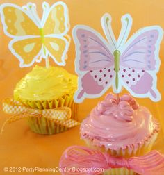 Free fall printable butterfly cupcake toppers