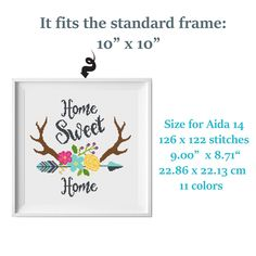 """""""PDF pattern,Flower cross stitch pattern Antler cross stitch Arrow with Wildflowers cross stitch Counted cross stitch PDF Home sweet home quote Boho modern cross stitch chart No389 ● Fabric: Aida 14 count ● Grid Size: 126 x 122 Stitches ● Design Area: 9.00\"""" x 8.71\"""" ( standard frame 10\"""" x 10\"""" ) or 22.86 cm x 22.13 cm ● DMC Colors: 11 This is a digital item. The PDF file of the pattern will be available for instant download once payment is confirmed. Instant Digital Download: 4 PDF included. Y Cross Stitch Quotes, Cross Stitch Love, Cross Stitch Flowers, Modern Cross Stitch, Modern Embroidery, Embroidery Designs, Name In Cursive, Wedding Cross Stitch Patterns, Stitch Design"""