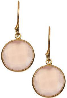 Pink Quartz & Goldtone Round Drop Earrings
