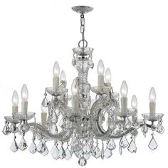 Buy the Crystorama Lighting Group Polished Chrome / Clear Italian Direct. Shop for the Crystorama Lighting Group Polished Chrome / Clear Italian Maria Theresa 12 Light Wide Chandelier with Clear Italian Crystals and save. Candle Style Chandelier, Maria Theresa Chandelier, Wrought Iron Candle, Chandelier Ceiling Lights, Crystorama, Chandelier, Polished Chrome, Chrome Chandeliers, Chandelier Lighting