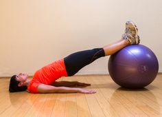 Pin for Later: Bridge Your Way to Toned Glutes With 8 Variations Straight-Leg Bridge With Stability Ball