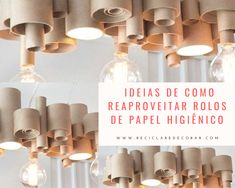 Ideias de como reaproveitar rolos de papel higiênico Chandelier, Ceiling Lights, Decoration, Home Decor, Paper Roll Crafts, Easy Kids Crafts, Toilet Paper Flowers, Toilet Paper Tubes, Cardboard Tubes