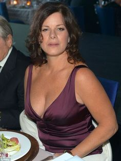 Marcia Gay Harden gave attendees something to smile about with her plunging neckline