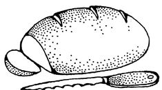 Free Public Domain Clip Art Image: bread with knife Knife Drawing, Food Drawing, Outline Drawings, Cartoon Drawings, Public Domain Clip Art, Food Coloring Pages, Black Food, Image Icon, Clipart Black And White