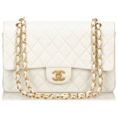 Vintage Chanel 2.55 lambskin white flap medium bag ❤ liked on Polyvore featuring bags, handbags, chanel handbags, white handbags, chanel, lambskin handbag and white hand bags