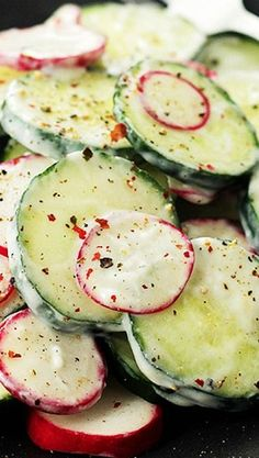 {Macedonia} Radish and Cucumber Salad with Garlic-Yogurt Dressing | www.diethood.com
