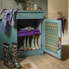 Fabric, Clothkits. Cabinet, Ruby Rhino. Wellies, Webury.com.
