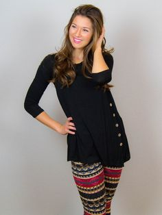 All About Those Buttons Tunic - Black | DazyLu