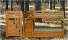 Staircase Bunk bed...perfect for #SummerCamp! #WoodFurniture #KidsFurniture #JessCrateFurniture