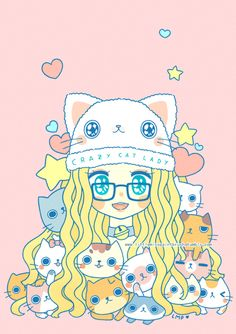 """""""Crazy Cat Lady"""" (o3o) This was one of my drawings for Design Festa last year! /// <3 I drew it because of very obvious reasons which include the fact that I LOVE CATS (๑꒪▿꒪)* Some of my prints (including this one) are currently available through the Rainbowholic Shop! ♥ It would mean a lot to me if you can go and check them out! (*≧∀≦*) Thank you so much!"""