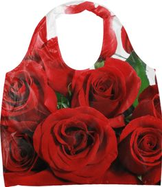 """Red Roses Eco Bag. Material: 100% nylon. Bag width 20"""", length 27"""", gusset 3"""", and handle 23"""""""