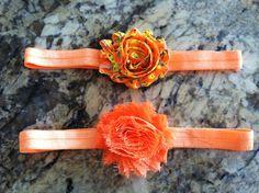 Set of 2 orange shabby chiffon flower headbands. $6