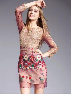Pink Mesh Embroidered Waved Hem Mini Dress