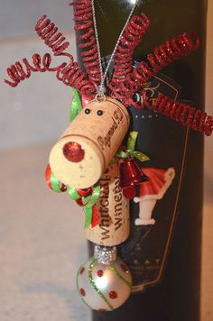 Reindeer Holiday Ornament by TheCorkForest on Etsy