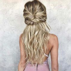 Twisted Boho Half Up Half Down Hair for Prom