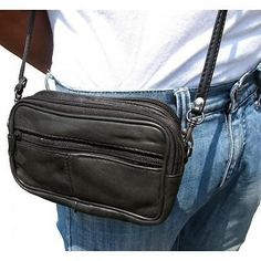 Black Leather Belt Bag #Unbranded #ShoulderBeltBag