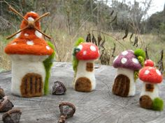 Small village of mushroom Set Needle Felted by feltingdreams