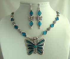Aquamarine Blue Glass Handmade Butterfly Pendant Necklace by JewelrybyIshi, $54.50