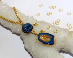 24k Gold Electroformed Teal Blue & Blue Agate by RareGemsNJewels