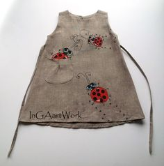 Girls Bugs dress gray linen dress Gray flower by InGAartWork