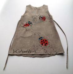Girls Bugs dress gray linen dress Gray flower por InGAartWork